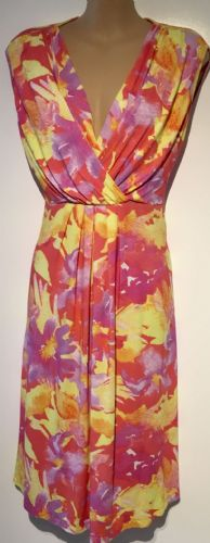 HAPPY MAMA YELLOW PINK FLORAL MATERNITY/NURSING DRESS SIZE 16